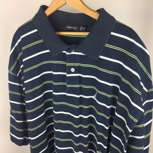 Nautica // mens 3XL navy white striped polo shirt